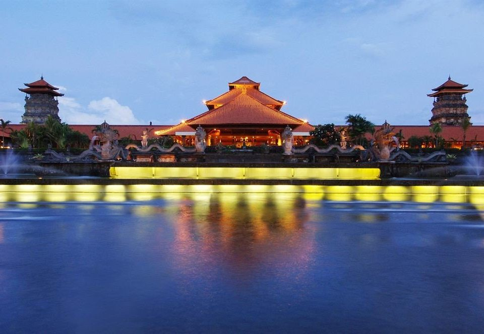 sky chinese architecture yellow long temple palace Resort swimming pool place of worship traveling