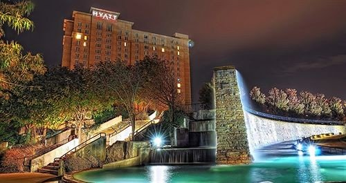 landmark night Resort cityscape water feature mansion