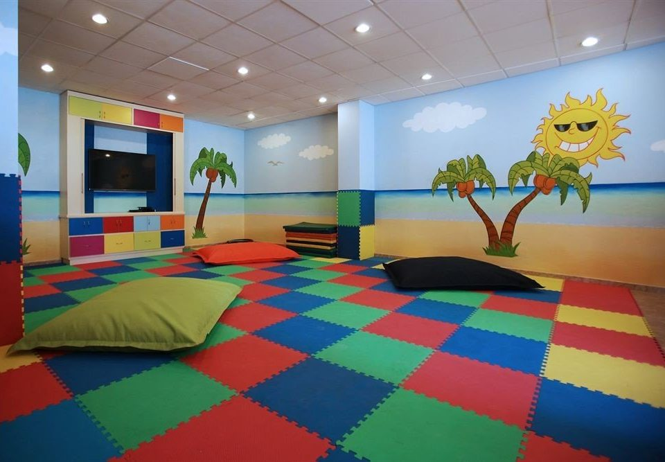 color colorful Resort recreation room flooring colored painted