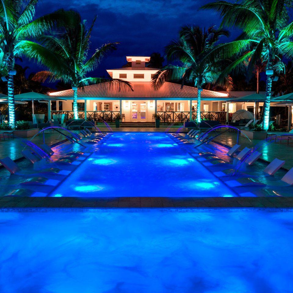 swimming pool water Resort resort town leisure lighting majorelle blue night landscape lighting tropics theatrical scenery computer wallpaper world evening
