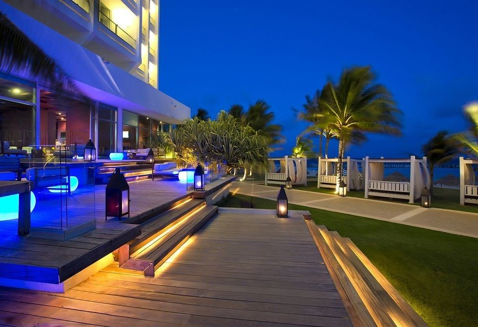 scene Resort night walkway lighting evening swimming pool dock marina way road lined highway