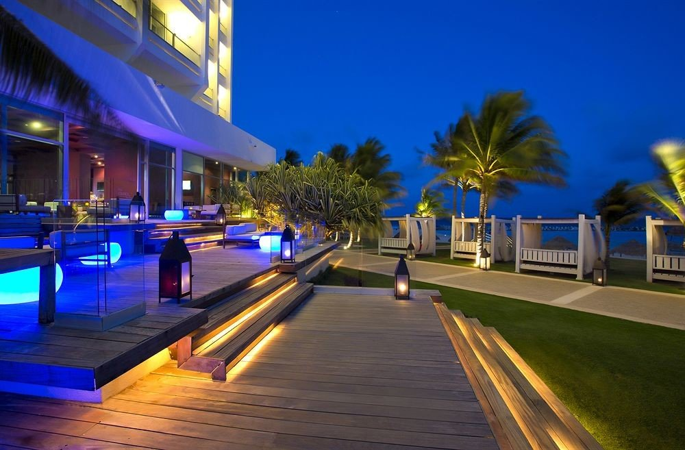scene Resort night walkway lighting evening swimming pool dock marina way road lined highway