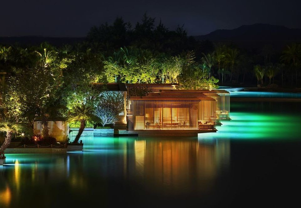 water swimming pool night light landscape lighting Resort evening lighting mansion dusk
