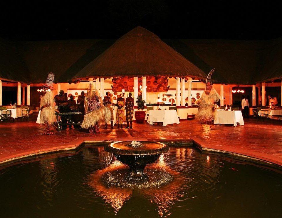 water Resort night lighting restaurant evening swimming pool