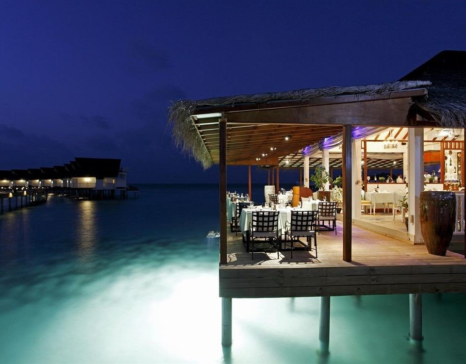 sky water night lighting restaurant evening Resort