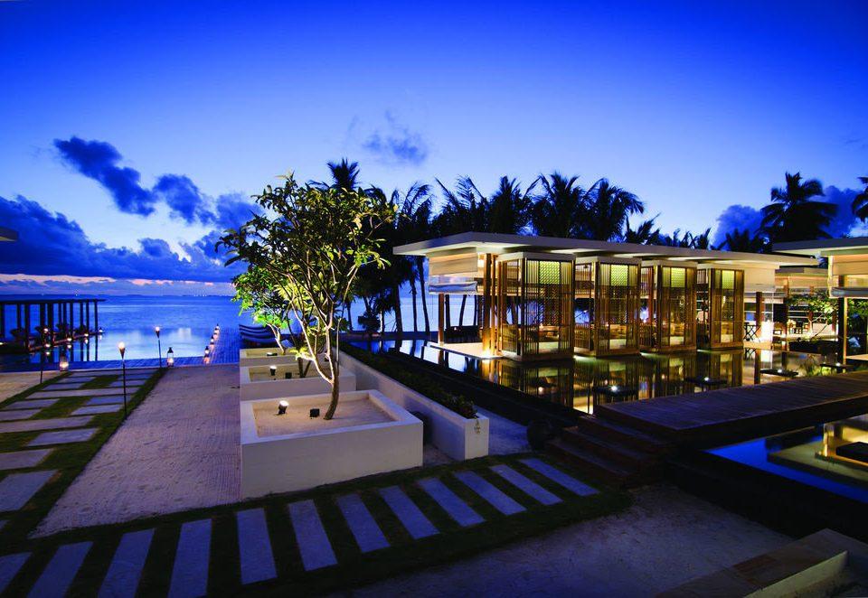 sky night Resort swimming pool evening lighting plaza