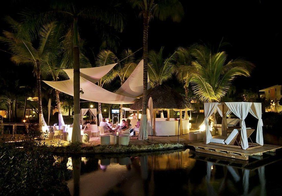 Resort night lit lighting restaurant landscape lighting