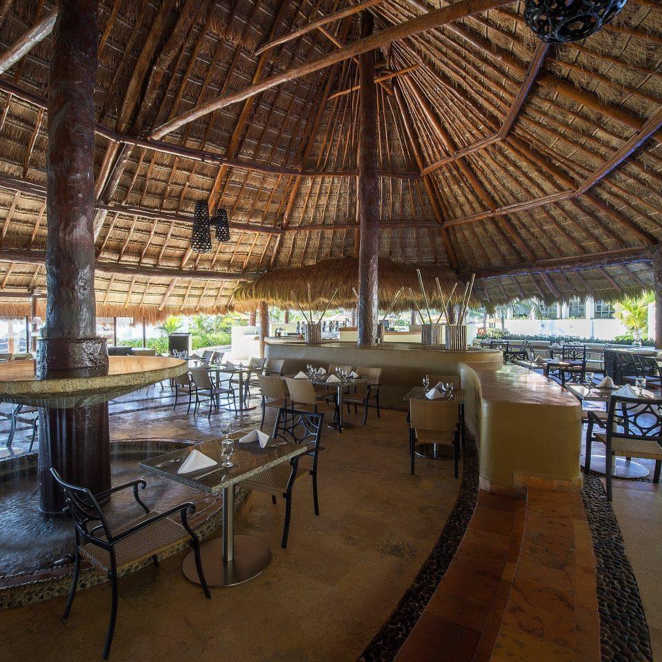 metal water Resort restaurant lined walkway