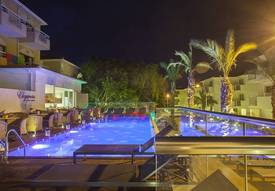 Resort night swimming pool restaurant