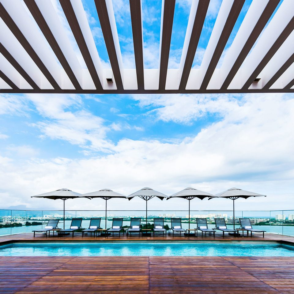 sky swimming pool structure umbrella pier walkway Resort
