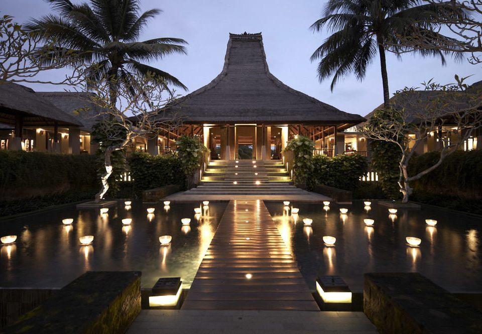 tree sky water night reflecting pool Resort River evening palace