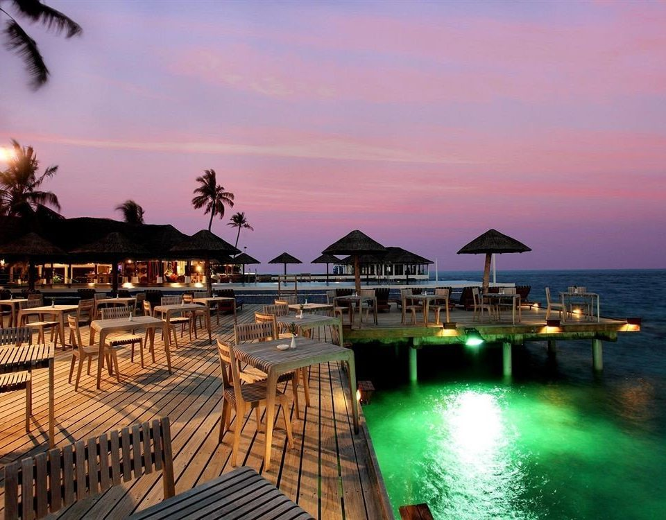 water sky Sunset scene Resort evening dusk Sea dock