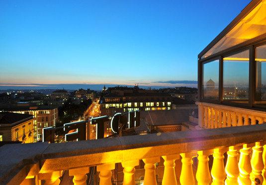 sky landmark night evening dusk yellow Sunset Resort palace cityscape