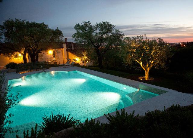 tree sky swimming pool property Resort Villa backyard light setting Sunset reef