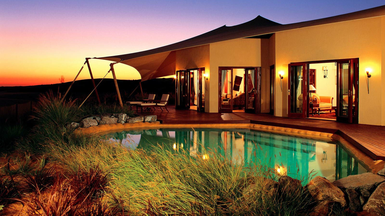 property home Resort swimming pool lighting sky evening house Villa water leisure hacienda amenity