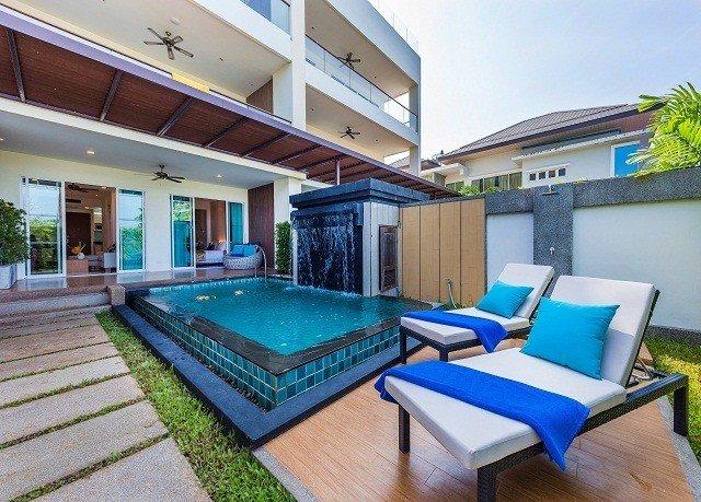 building property condominium swimming pool blue Resort Villa leisure mansion home cottage backyard