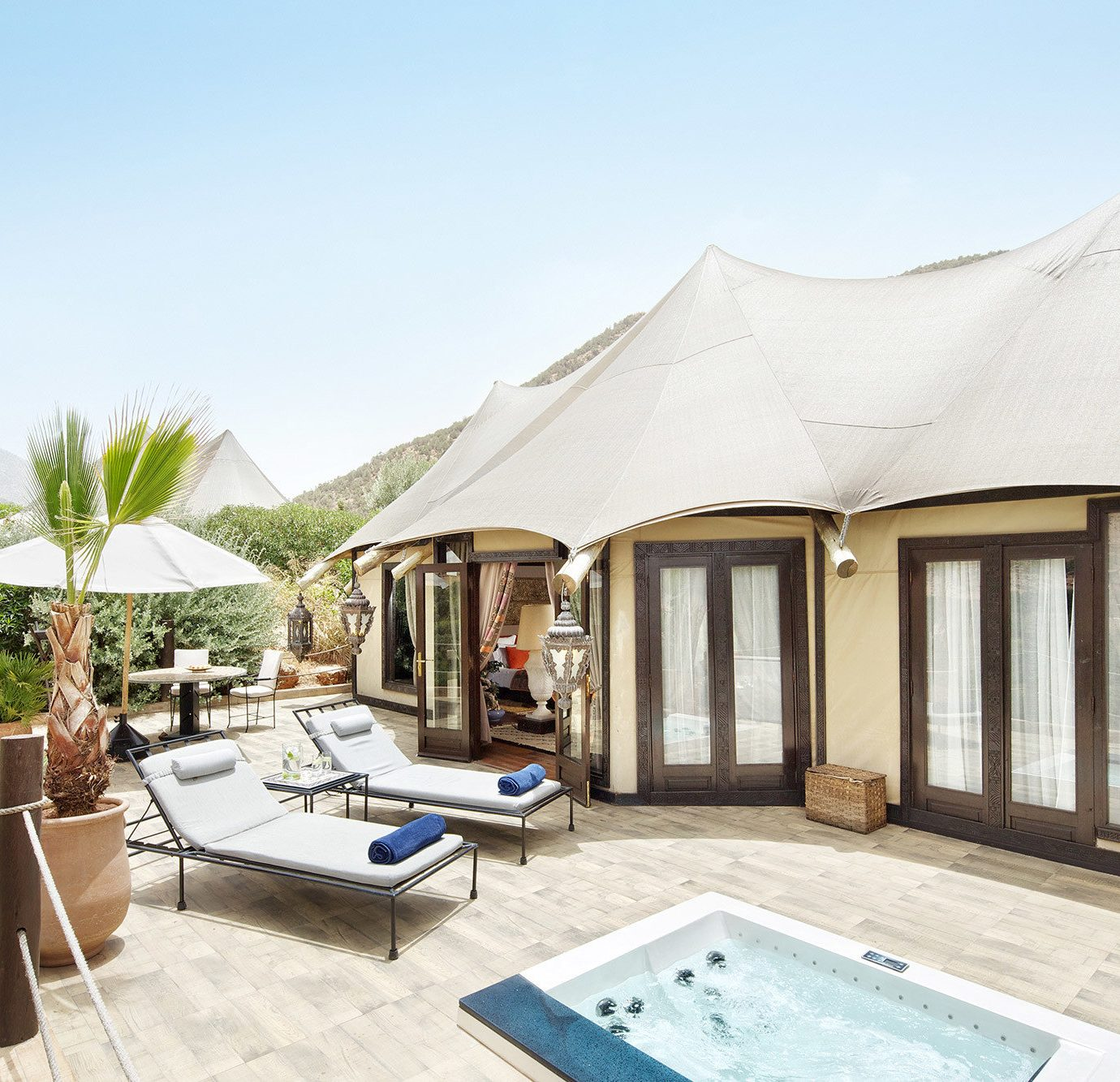 sky property swimming pool building Villa Resort home tent cottage backyard day