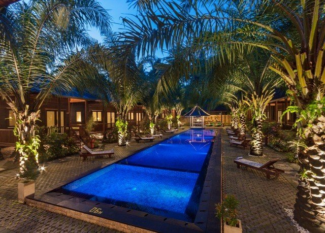 tree swimming pool property Resort Villa backyard eco hotel hacienda palm lined