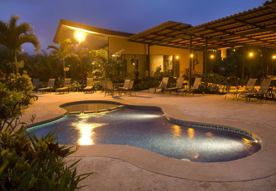 sky swimming pool property Resort reflecting pool landscape lighting backyard Villa