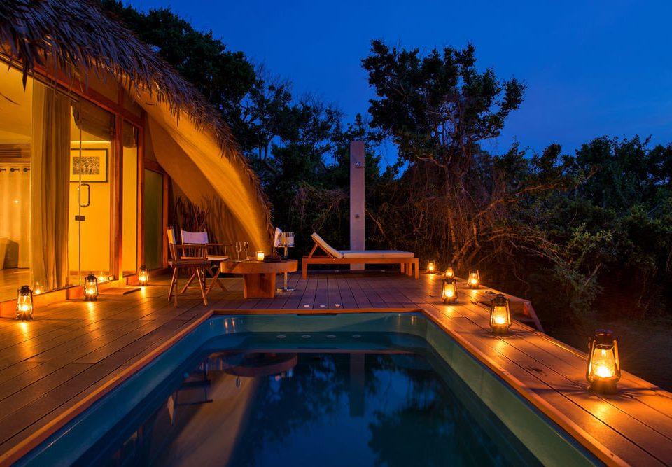 sky tree swimming pool leisure Resort Villa landscape lighting backyard night