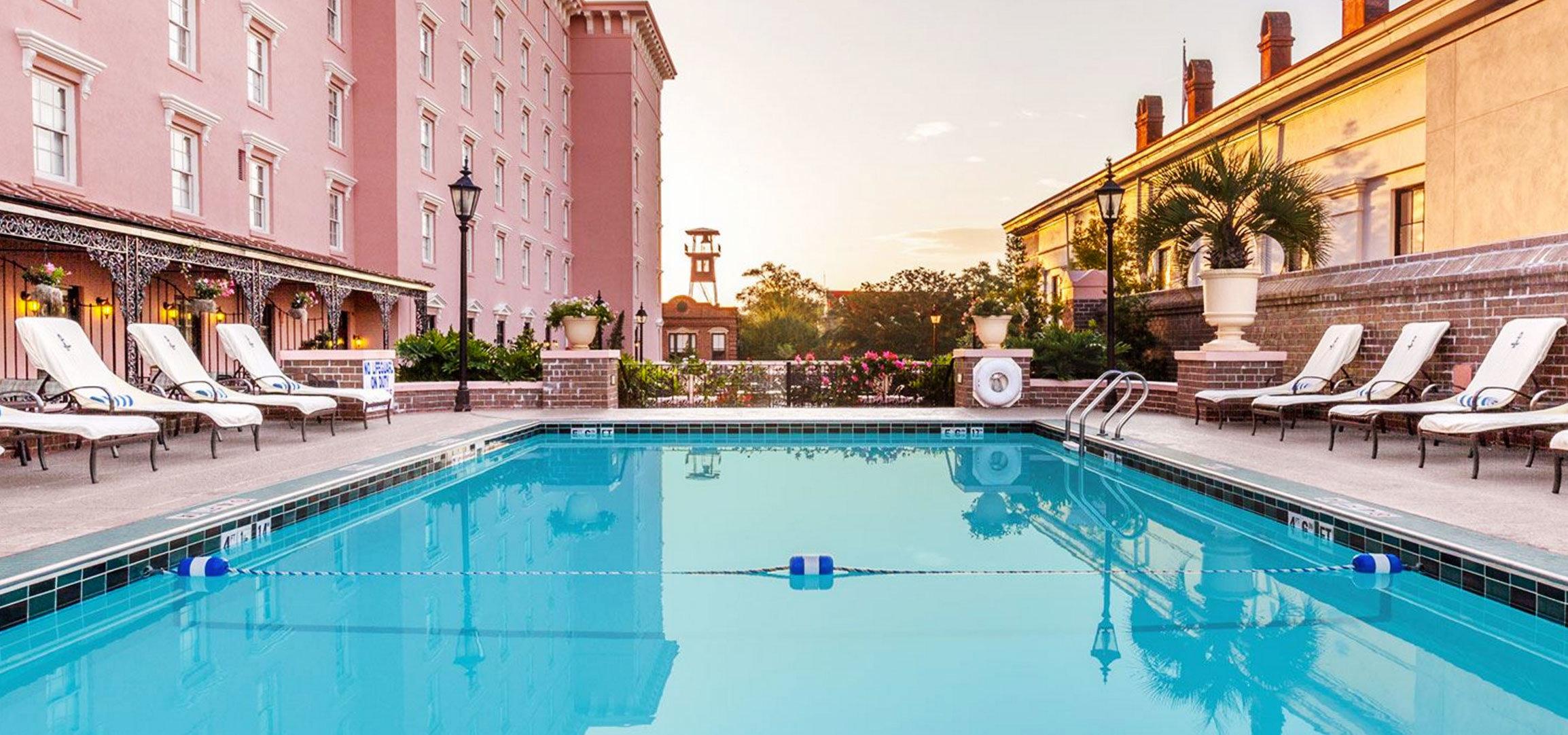 building swimming pool leisure property reflecting pool resort town palace thermae Villa Resort blue swimming