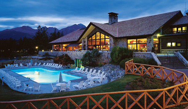 building home water leisure resort town swimming pool sky Resort lighting mountain house evening cottage Villa landscape mountain range tree colored