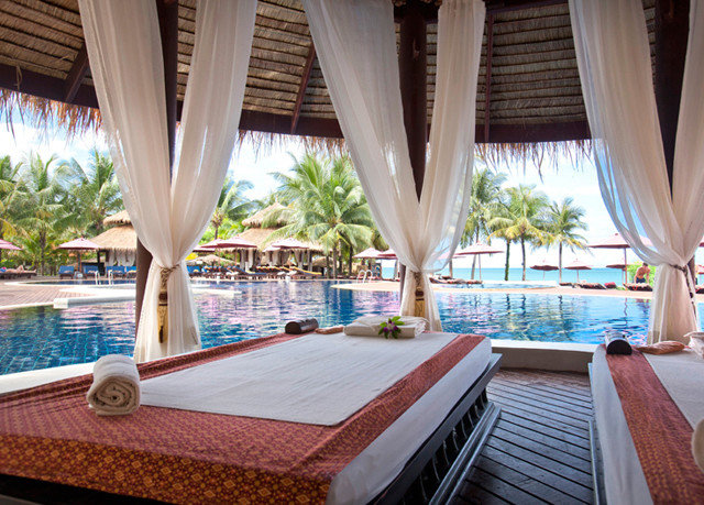Resort property swimming pool curtain Villa caribbean