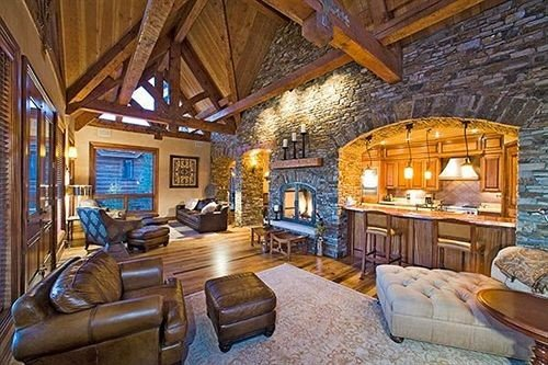 property log cabin living room cottage home farmhouse Resort Villa recreation room