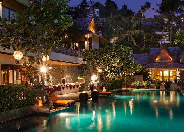 tree Resort swimming pool property resort town Villa eco hotel mansion landscape lighting night