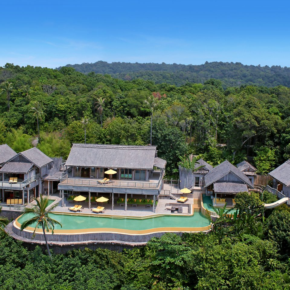 tree property house Resort mansion residential area home Villa Village cottage lush surrounded