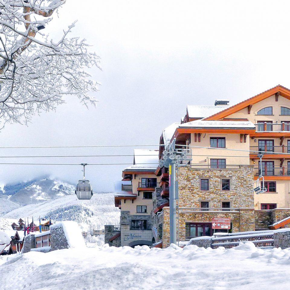 snow tree Winter weather home season house neighbourhood residential area cottage Resort
