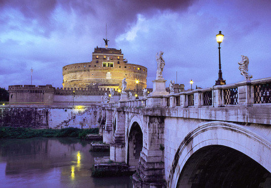 water sky bridge landmark River building night cityscape evening waterway ancient rome traveling arch stone