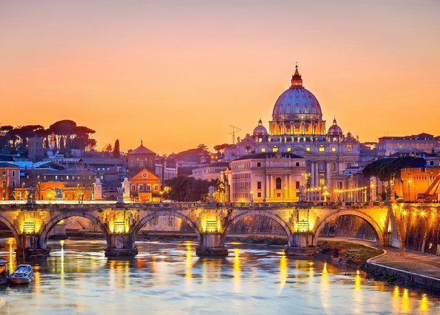 sky yellow landmark historic site cityscape Town evening night River dusk place of worship palace cathedral plaza panorama orange colorful