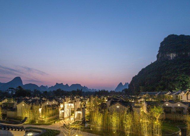 sky water Town landmark River mountain range morning mountain landscape valley panorama dusk cityscape