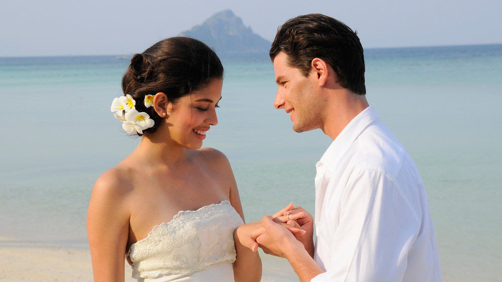 water man woman ceremony male wedding bride groom Romance event interaction marriage shore