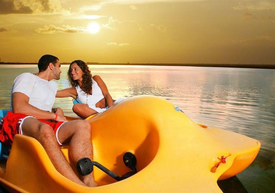 water yellow Romance interaction orange life jacket
