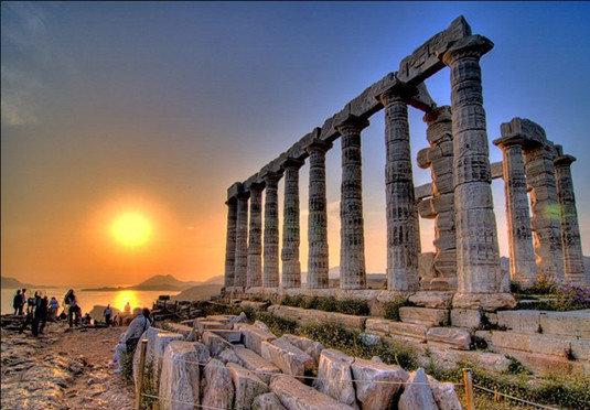 sky building landmark rock structure Ruins ancient history stone ancient roman architecture ruin colonnade column