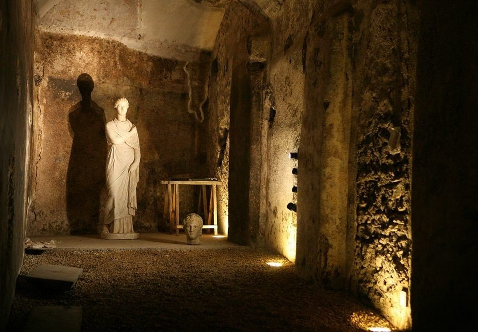 photograph image building darkness light ancient history night temple crypt Ruins stone basement megalith
