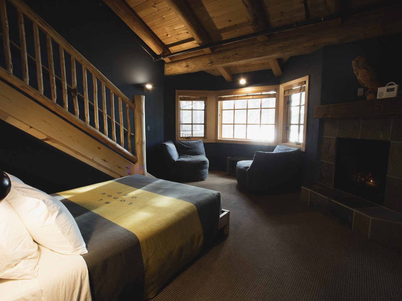 Boutique Hotels Fall Travel Hotels Outdoors + Adventure indoor room floor window Architecture ceiling interior design wood house furniture home Bedroom