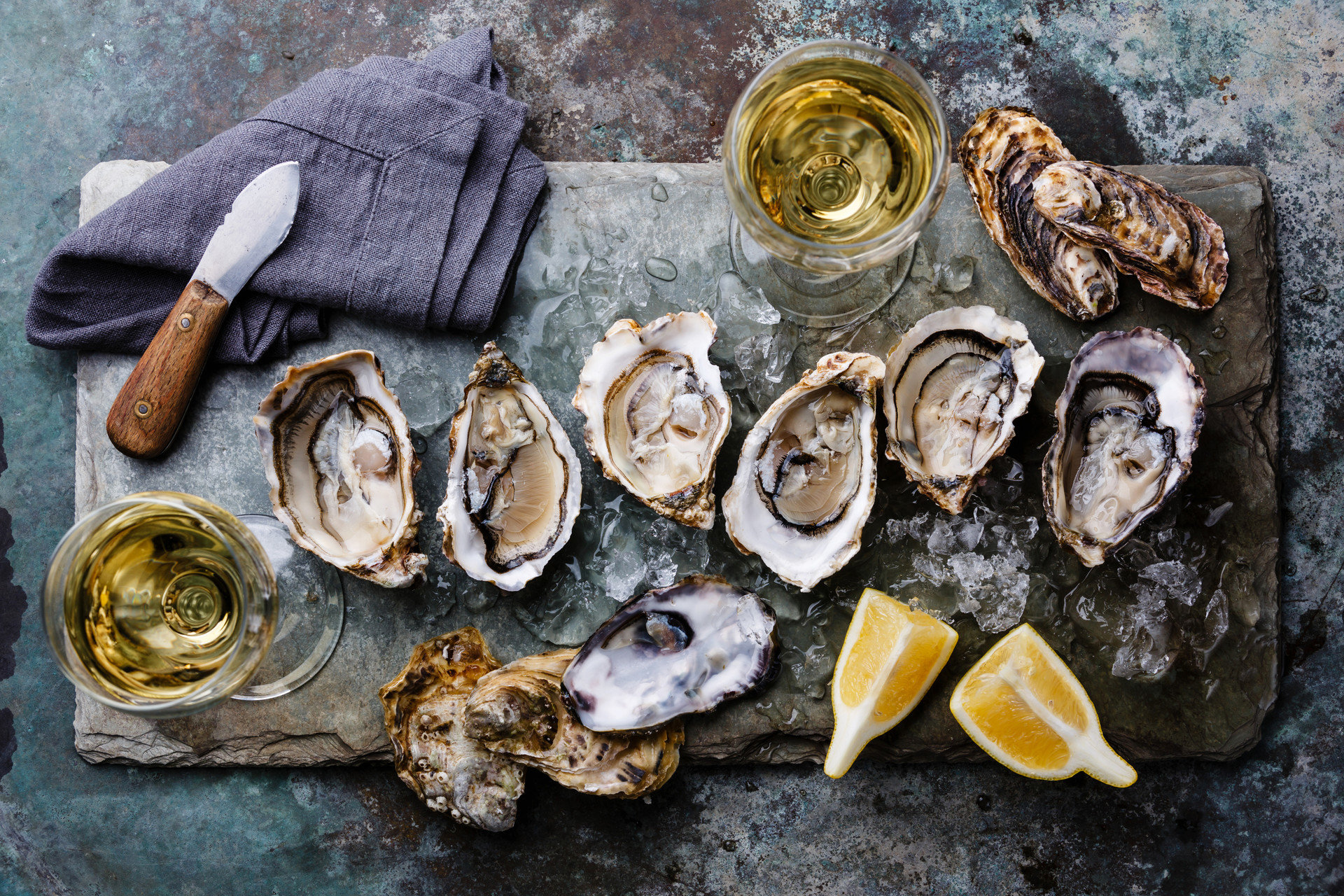 Food + Drink Trip Ideas food Seafood oyster wood invertebrate painting clams oysters mussels and scallops still life material mussel several