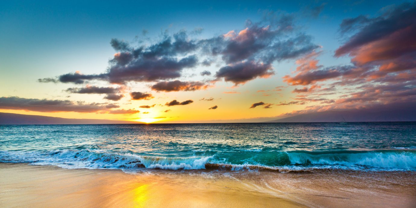 Hotels water sky Beach shore Sea outdoor Ocean horizon body of water cloud Sunset sunrise wave wind wave Coast afterglow dawn Nature morning dusk evening sand sunlight