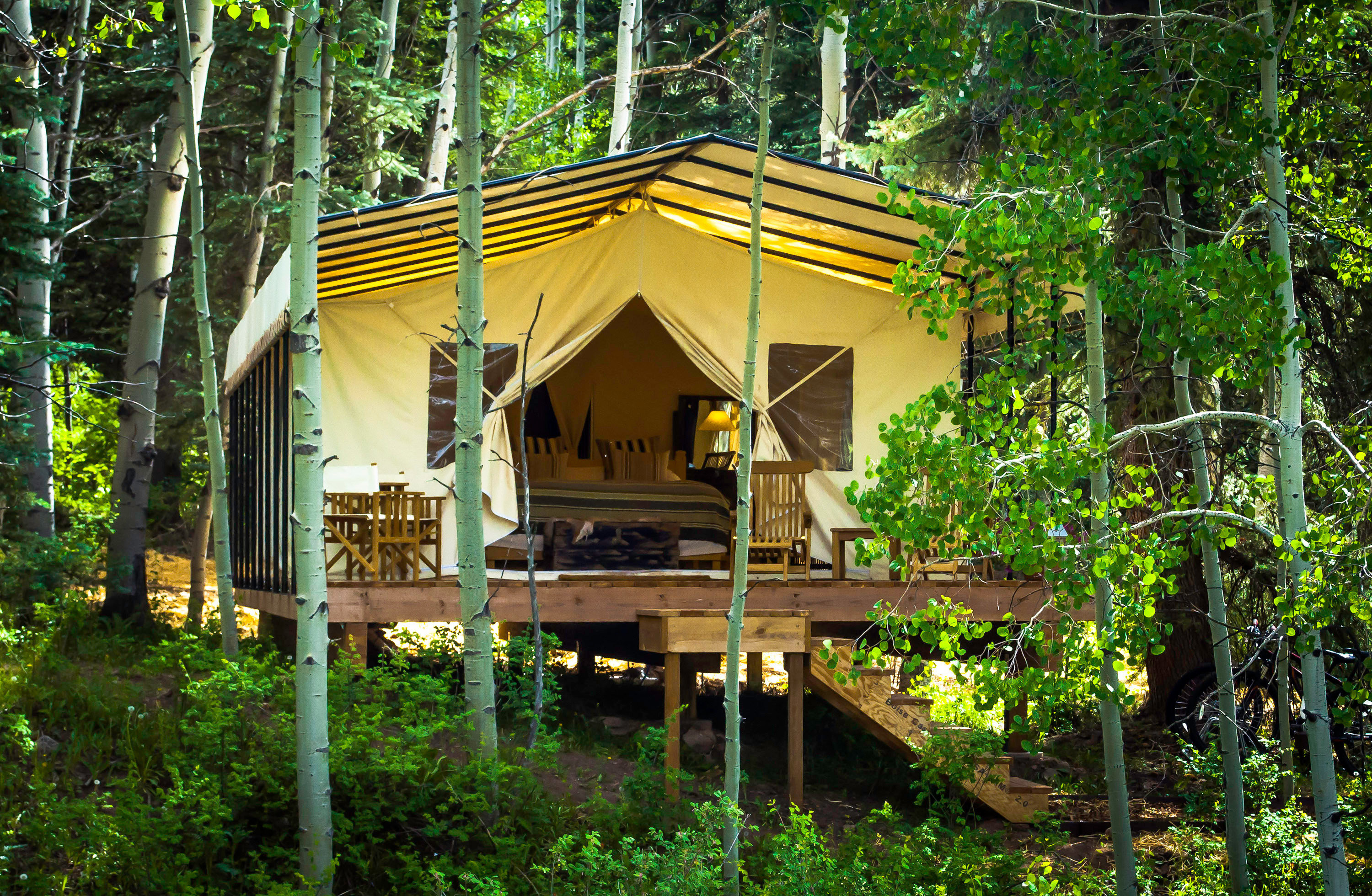 Adventure Bedroom Country Forest Glamping Mountains Outdoors + Adventure Rustic Weekend Getaways Wellness tree outdoor habitat natural environment house building Jungle Resort hut temple log cabin outdoor structure rainforest estate shrine shinto shrine tree house Garden area wood wooded