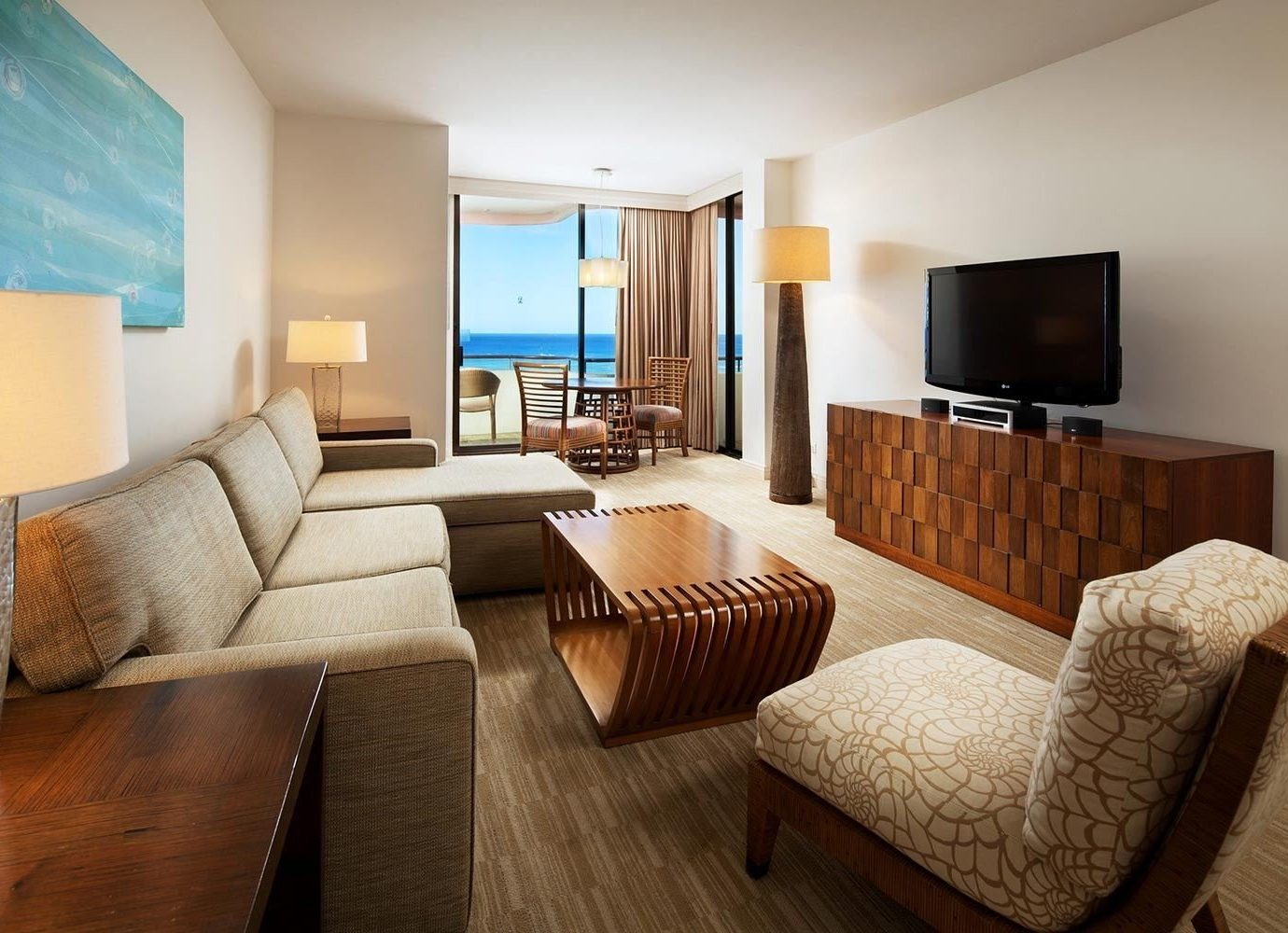 Boutique Hotels Hawaii Honolulu Hotels indoor floor room sofa wall Living ceiling Suite living room interior design real estate hotel interior designer penthouse apartment comfort furniture area wood decorated flat