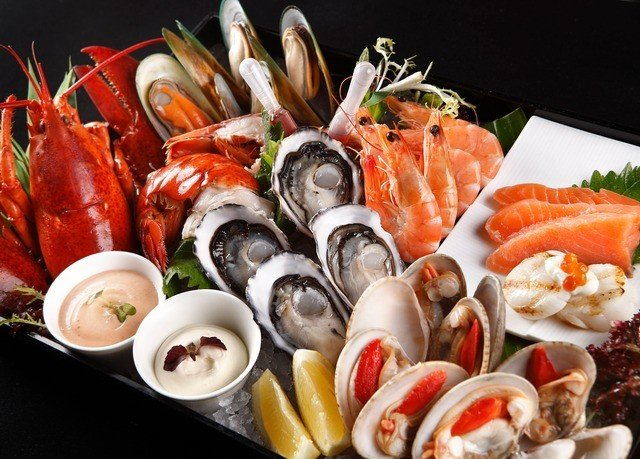 food plate hors d oeuvre cuisine Seafood fish asian food buffet