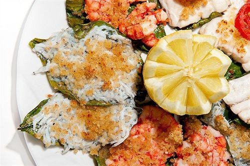 food plate cuisine piece asian food fish california roll hors d oeuvre slice vegetable fried food Seafood