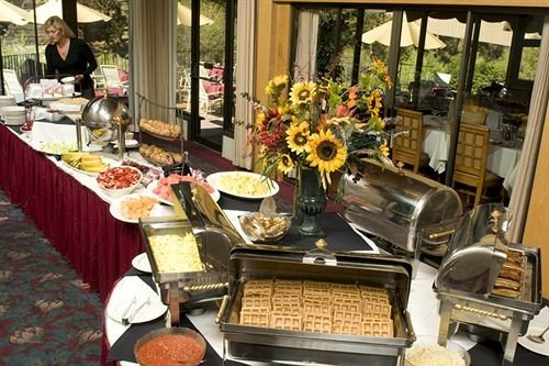 buffet brunch floristry lunch food cluttered Shop dining table