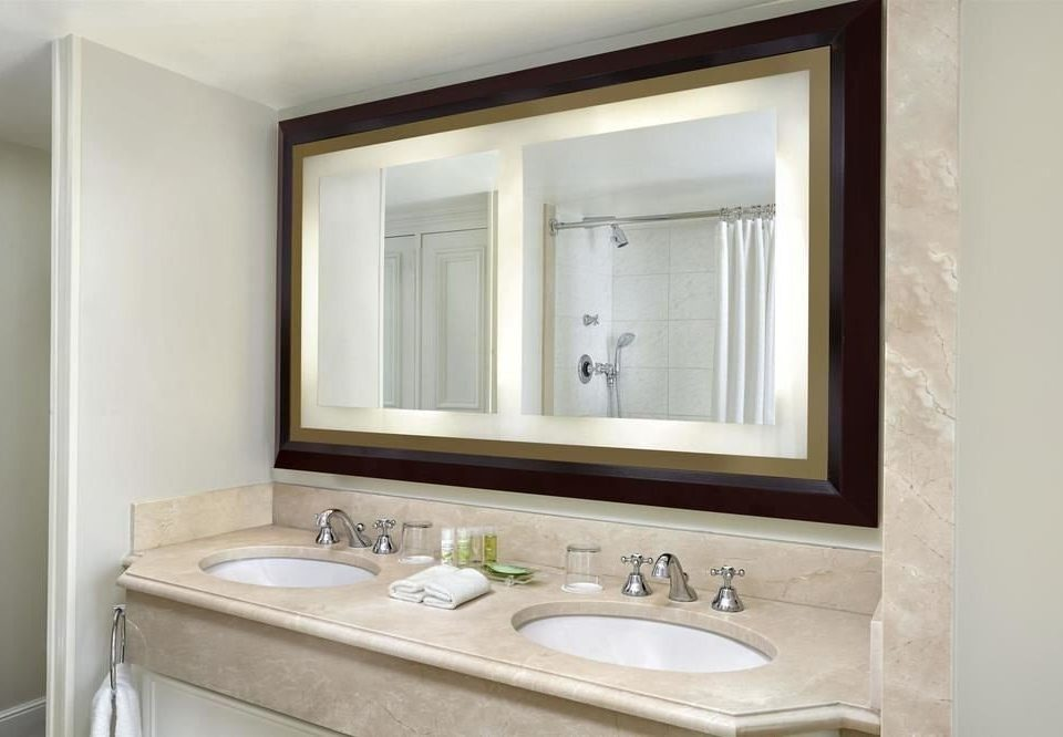 bathroom sink mirror property white home bathroom cabinet plumbing fixture Suite bathtub tan