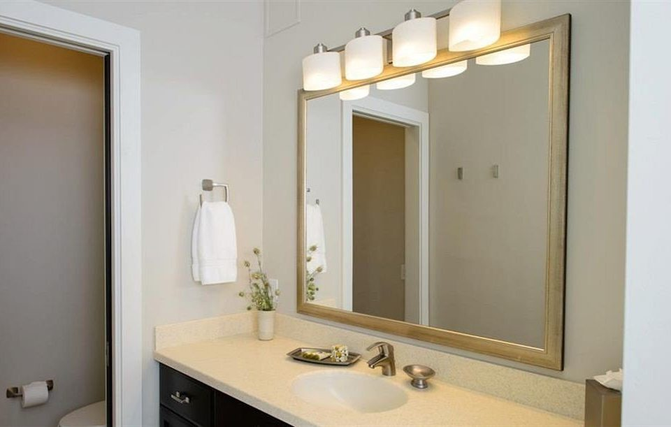 bathroom mirror sink property vanity home bathroom cabinet Suite clean tan