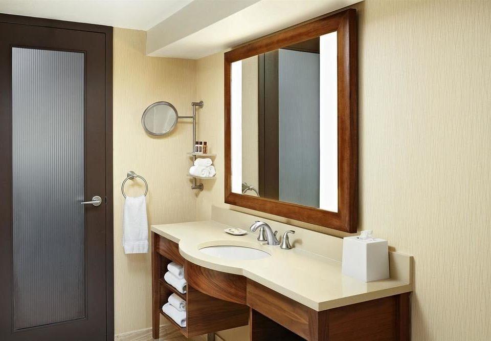 bathroom mirror sink property Suite home cottage bathroom cabinet tan