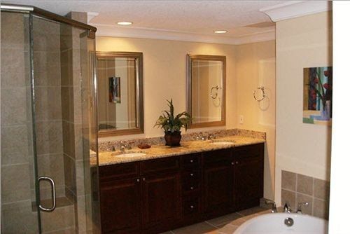 bathroom property sink scene home cabinetry shower Suite cottage countertop tile tiled